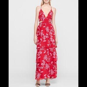 Express Floral Tiered Twist Back Maxi Dress